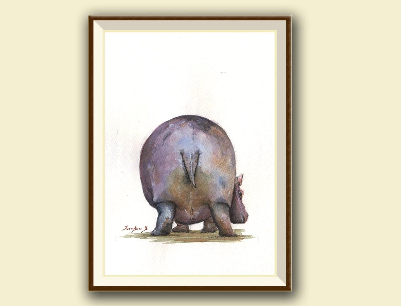 SERIE Po-Hippo-Hippo Spaziergang der Aquarell-Malerei-Nilpferd
