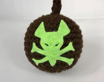 Twitch poison Bomb Ball, Amigurumi toy, brown ball, green poison symbol, crochet soft ball, Free Shipping, handmade child stuffed toy