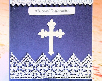 On Your Confirmation Card-Navy and White Liturgical Lace-Pearlescent Card - suit Male or Female, White Envelope-Pearlescent inner slip