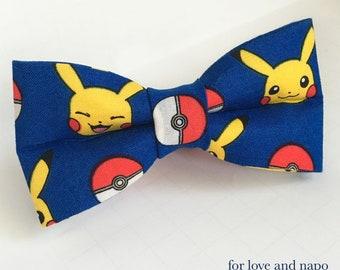 pikachu, pokemon, pokeball dog or cat bow tie