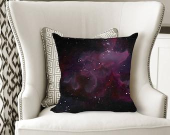 Purple Nebula Decorative Pillow, Soft Velveteen Nature Decor printed from Original Art - multiple sizes