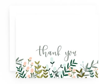Thank You Cards Set of 8: Garden Wreath Floral Thank You Card Set