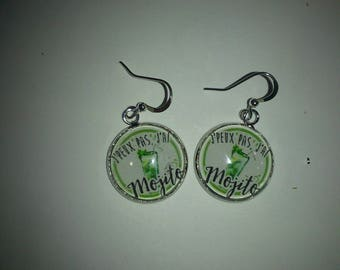 Earrings 18 mm theme mojito