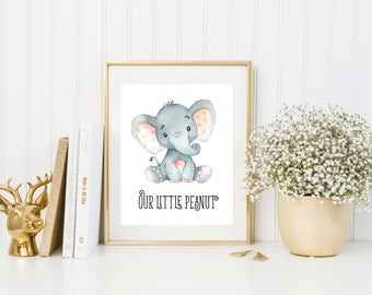 Nursery Elephant Printable Nursery Wall Art Elephant Print Our Little Peanut Nursery Art Print Animal Decor Safari Nursery Safari Wall Art