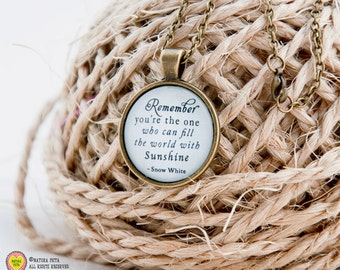 Snow White necklace-Snow White quote Jewelry-Snow White quote pendant-custom necklace-wholesale necklace-quote necklace-NATURA PICTA NPNK35