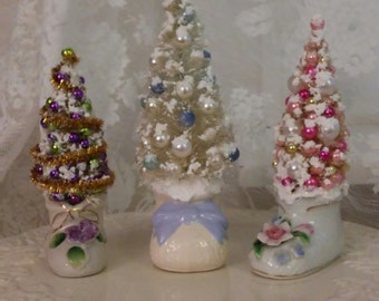 Vintage Porcelain Baby Bootie Bottle Brush Tree