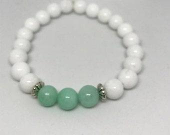 Natural White Jade and Amazonite Bracelet, Handmade