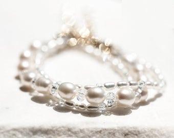 645 White pearl set bracelets, Bridesmaid golden bracelet, Gold crystal bracelet, Bridal pearl set, Natural pearl bracelet, Jewelry bracelet