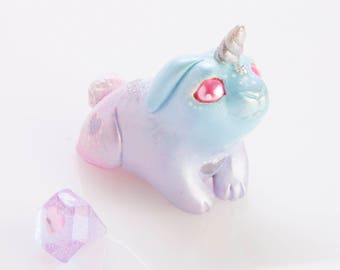 Cute Polymer Clay Pastel Bunnicorn Bunny Unicorn Figurine Totem Ornament with Silver Details & Resin Gem