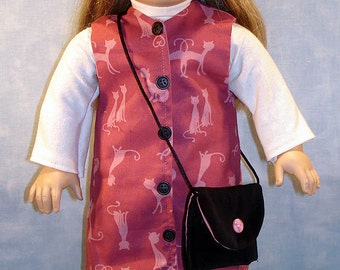 18 Inch Doll Clothes - Pink Cat Jumper 6 pc. Outfit handmade by Jane Ellen to fit 18 inch dolls