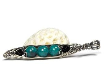Blue Three Peas in a Pod Necklace, Chrysocolla Pea Pod Jewelry, Silver Wire Necklace, BFF Gift, 3 Peas in a Pod, Semi Precious Gemstone
