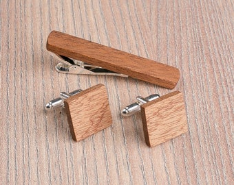 Wooden tie Clip Cufflinks Set Wedding Sapele Square Cufflinks. Wood Tie Clip Cufflinks Set. Mens Wood Cuff Links, Groomsmen Cufflinks set.