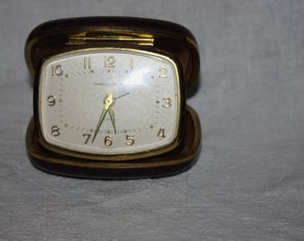 Vintage Travel Alarm Clock Phinney Walker Germany Leather Alligator Style Case