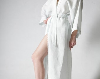 Linen Long Night Gown/Bath Robe Laced  for Woman/ Linen Night Wear/ Linen Homewear