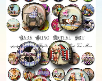 25 mm circles,Carnival, Circus and Sideshow Performers, circus collage sheets, INSTANT Download at Checkout, circus, clowns,lions,carnival