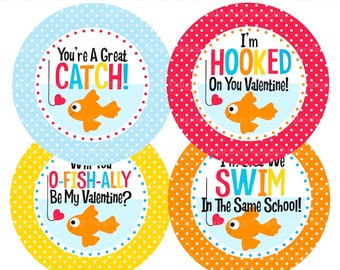 fish valentine printable tags valentines day - Valentine Fish Printable Tags