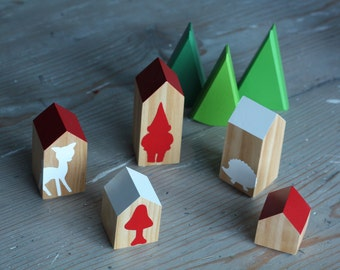 Happy Little Neighborhood - Wood Block Houses - Gnome - Woodland - Red and White - Natural