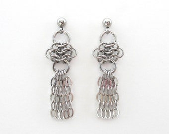 Stainless steel drop earrings, chainmail earrings, stainless steel jewelry for women, dangle earrings