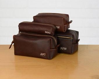 Personalized Groomsmen Gift | Groomsmen Set Leather Toiletry bag | Leather Dopp Kit  | Men's Leather Toiletry Bag | Monogram Toiletry Bag