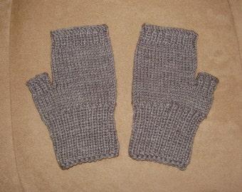 Hand knit Fingerless Gloves - Grey