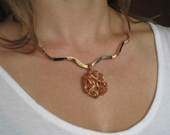 Wired copper bead necklace - One of a kind Handmade - Artisan Jewelry