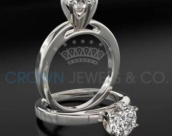 Diamond Ring Women Round Cut Engagement Ring 1 Carat F SI Certified Diamond 14K White Gold Ring