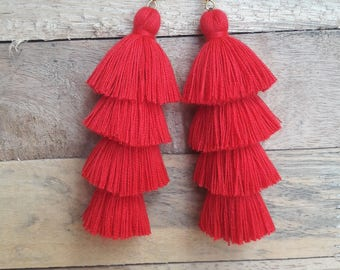 Mini Red Tassel Earrings,Red earrings,Red tassel,Hand made earrings,Bohemian earrings,Chandelier earrings,Red jewelry.