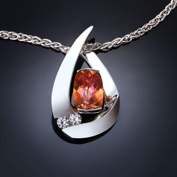mystic topaz necklace, silver pendant, sunrise topaz, white sapphires, argentium silver, statement necklace - 3378