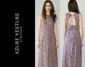 90s Floral Maxi Dress, 1990s Summer dress, Backless, Open Back, Ditsy Print, Small Medium