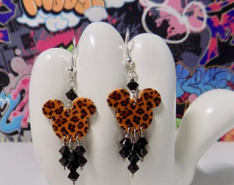 Mickey Mouse Leopard Double Sided Print Dangle Earrings