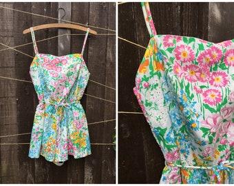 vintage Midcentury floral Swimsuit Playsuit bathing suit by Gabar // retro swimsuit // floral 1960s romper