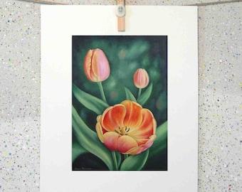 Tulip flowers, botanical art original oil painting fine art print on paper by Elena Parashko, tulips with orange pink and yellow petals