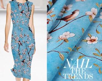 """Cherry Blossom Blue Silk Crepe de Chine Fabric With bird Print 114cm/44"""" 14m/m"""