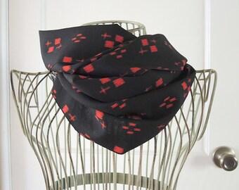 Red geometric on black, wool vintage Japanese kimono scarf
