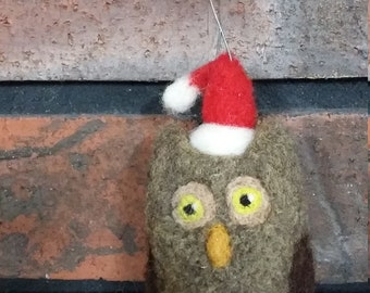 Owl Ornament Christmas Needle Felted Wool