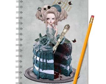 Marie Antoinette, Notebook And Journal, Spiral Notebook, Handmade Book, A5 Spiral Book, Lined Or Blank, Notebook, Journal, Spiral Journal,