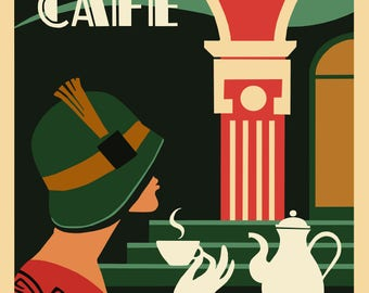 Art Deco Cafe Style - cute 1920s style poster ideal for the wall or a card