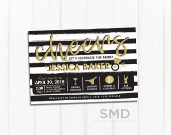 bachelorette party invitation, itinerary, timeline, cheers, last fling, stripes, gold sparkle, silver sparkle, PRINTABLE or PRINTED INVITES
