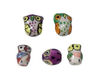 Porcelain Owl Beads x 10