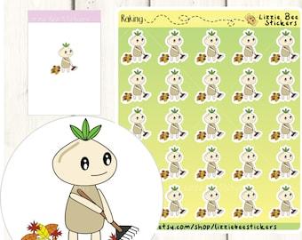 Raking Leaves Functional Planner Sticker