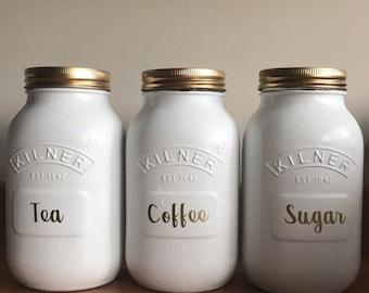 White Tea, Coffee, sugar jar sets *HANDMADE*