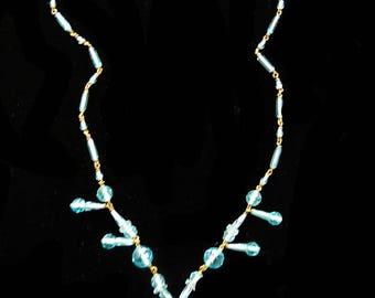 Gorgeous Early 1900s Czech Long Aqua Pendant Necklace