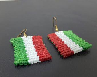 Macrame Italian Flag, Thai Handmade , Made By Abour, Festival Jewelry