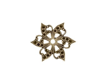 Multi-Stone Chaton Setting Antiqued Brass Ox - Flower Shaped Setting for Small Pointed Back Rhinestones - Nickel Free Made in the USA