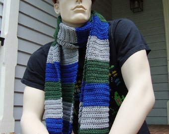 Crochet Scarf, Wool Scarf, Striped Scarf, Men's Scarf, Unisex Scarf, Gift for Him, Gift for Her, Blue Gray and Green, Hand Crocheted