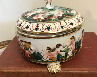 Vintage Capidomonte Footed Candy Dish with Lid Handpainted Italy Collectible Cherubs Angels Shabby Chic Boudoir Porcelain Covered Dish