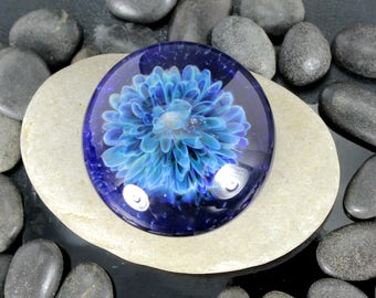 Blue Flower  Lampwork Glass Cabochon - 36mm - Jewelry Making Supply
