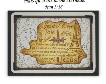 JOHN 3:16 in FRENCH Unmounted rubber stamp Christian bible verse, scripture, gospel message, Sweet Grass Stamps No.11