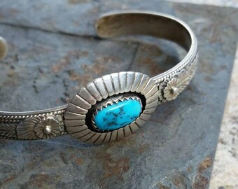 Sterling Silver Navajo Concho Turquoise Cuff Bracelet