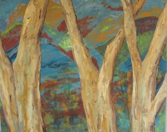 Dancing Trees -  Original Painting - 40 x 40 inches